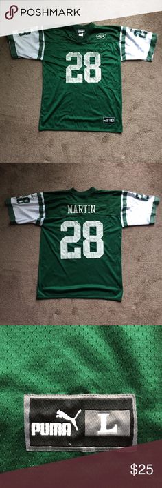 ed4d8bd22 Vintage Puma New York Jets Jersey Curtis Martin L Preowned, good condition.  Minor flaw