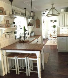 Loving All Of The Textures In This Farmhouse Kitchen 3  Kitchen Inspiration Farmhouse Kitchen Design Inspiration Design