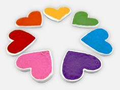 Refrigerator Magnets - 7 Rainbow Heart Fridge Magnet Set, Colorful by WooHue on etsy