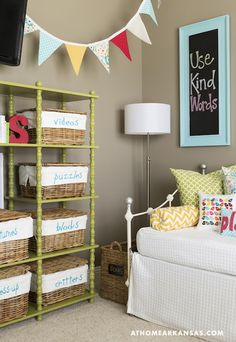 Suzie: At Home in Arkansas - Fun girl's bedroom with taupe walls paint color, vintage iron ...