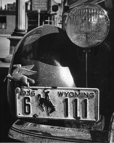 John Gutmann: Wyoming car, 1936 You know you're in Carbon County when you see a 6 on the license plate.