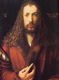 Titel: Zelfportret met bontjas Kunstenaar: Albrecht Dürer Datum: 1500 Materiaal: Olieverf op hout Museum: Museum München Stroming: Renaissance