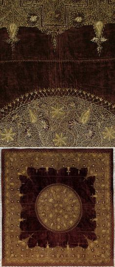 Antique Indian Textile. Table Cover Gold Embroidery on red velvet 1800-1900 A.D