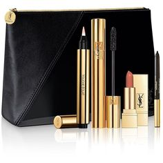 Yves Saint Laurent Essential Makeup Set (832.130 IDR) ❤ liked on Polyvore featuring beauty products, gift sets & kits, makeup, apparel & accessories, no color and yves saint laurent