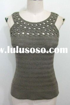 womens spring summer knitwear ladies cotton hand crochet top tank vest sweater BS-708