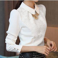la mujer elegante cuello de peter pan de gasa de flores blusa de manga larga camisa de encaje tops blusas g0412-XL Camiseta-Identificación del producto:300003273701-spanish.alibaba.com