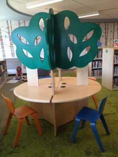 Quad Tree Computer Table by TMC Furniture Public Library Design, Kids Library, Library Ideas, Library Furniture, Furniture Design, Bethlehem, Media Center, Kid Spaces, Quad