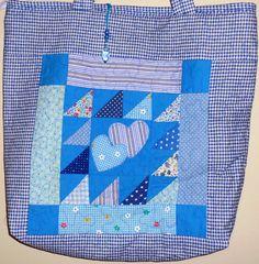 Bolsa em patchwork e patchaplique. Eliane David.
