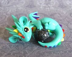 Hand-sculpted from high quality polymer clay, and coated with a protective glossy glaze. Polymer Clay Dragon, Polymer Clay Figures, Cute Polymer Clay, Cute Clay, Fimo Clay, Polymer Clay Projects, Polymer Clay Creations, Deco Cactus, Kawaii