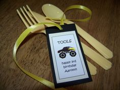 Monster Truck birthday party tags