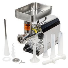 weston meat grinder with 2 plates and 3 funnels