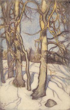 Talvisia puita (Tree in Winter) Eero Järnefelt, 1915 Helene Schjerfbeck, Academic Art, Colorful Artwork, Nature Illustration, Scandinavian Art, Paintings I Love, Winter Trees, Nature Images, Tree Art