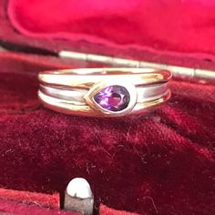Vintage Amethyst Gold Ring Gold Amethyst Ring Yellow and Antique Rings, Antique Jewelry, Vintage Jewelry, Vintage Pins, Vintage Ladies, Amethyst Jewelry, Amethyst Stone, Amethyst Rings, Gem Shop