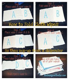 How To Fold Cloth Wipes so that they Pop-up from a dispenser! Oh, The Things We'll Make!