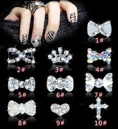 3D Nail Art Strass Deko Alloy Glitters 10pcs