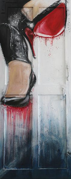 Luxury Louboutin Oil painting and spray paint on the door By Henry Hang Paris