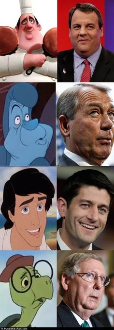 Separated at birth? Animated characters and [not so animated] politicians.