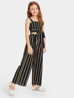 To find out about the Girls Tie Waist Striped Crop Top & Wide Leg Pants Set at SHEIN IN, part of our latestGirls Two-piece Outfits ready to shop online today! Kids Dress Wear, Dresses Kids Girl, Little Girl Outfits, Kids Outfits Girls, Cute Girl Outfits, Cute Outfits For Kids, Cute Casual Outfits, Girls Fashion Clothes, Teen Fashion Outfits
