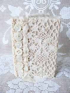 Shabby Lace Mini Journal Diary Book Hardback Wedding by ShabbySoul