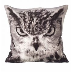 Owl Cushion - he's watching you! http://www.cathyfrith.com/32,62,soft-furnishings-owl-print-cushion.html