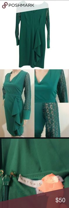 HOLIDAYS! Antonio Melani Lace Sleeve Dress Beautiful green dress! Long lace sleeves with small button on a thick cuff. Only worn a few times and recently dry clean! No holes, stains, etc. ANTONIO MELANI Dresses Midi