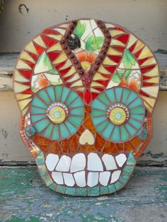 Special Mosaic Skull Wall Art by RestnPieces on Etsy