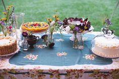 cakes, pies and vintage tablecloths cake stands