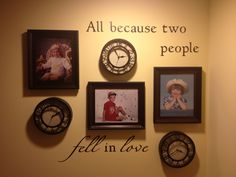 Mommas new decor!! Picture of us 3 kids with clocks set to the time we were born!!
