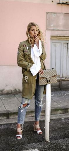 Military patched coat casual look
