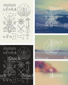 Set of icons on a theme of the sea royalty-free stock vector art