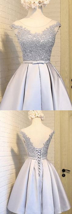 Bowknot Prom Dresses, Silver A-line/Princess Prom Dresses, Short Silver Homecoming Dresses, 2017 Homecoming Dress Silver Lace-up Satin Short Prom Dress Party Dress Princess Prom Dresses, A Line Prom Dresses, Prom Party Dresses, Homecoming Dresses, Evening Dresses, Short Dresses, Dresses Dresses, Dress Party, Sleeveless Dresses