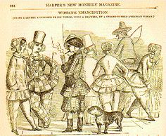 Harper's New Monthly Magazine, volume 3, 1852: This satirical look at dress reform first appeared in the English publication, Punch. Dress reformers were subject to so much ridicule that they were finally forced to return to their conventional dress. The bloomer, they soon realized, was receiving much more attention than the women's rights arguments made by its wearers.
