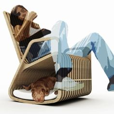 Take a dog house and a rocker and you got yourself a rocking pet bed. How fun is this?