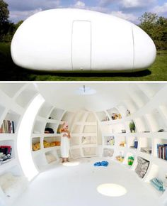 """I would have the top be a skylight! I would buy small pieces of land around the world and put my new """"house"""" there. Interesting--I am not sure what i think. Mini Cabins, Egg Designs, Expensive Houses, Suites, Cozy House, New Homes, Tiny Homes, Home Projects, Sweet Home"""