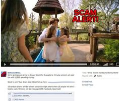 Don't be fooled! You will not win a trip to Disney World by sharing this video. This is a bogus page and the links lead to a survey scam.