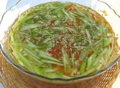 Summertime is for the cool cucumber soup! Oi, or Korean cucumber is one of my favorite summertime vegetables, since it's very flavorful but also good source of vitamins. This cold cucumber soup is prepared simply with fresh cucumbers and a soy sauce-based broth that is slightly sour and slightly sweet