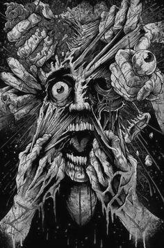 Stunning Horror Art by Brandon Heart - Zombie Liquorice Arte Horror, Horror Art, Horror Movies, Creepy Art, Scary, Creepy Drawings, Dark Fantasy, Fantasy Art, Lapin Art