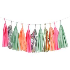 This pastel and shimmery tassel garland is a pretty addition to a hen do, bridal shower, birthday or summer garden party. This garland looks great blowing in a light breeze and twinkling in the sun. Vintage Home Decor, Diy Home Decor, Tassle Garland, Garlands, Decoration Baroque, Party Girlande, Decoration Originale, Boho Home, Tropical Colors