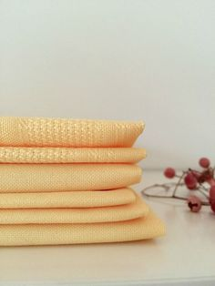 vintage butter yellow cloth napkins - set of 6 by rosyrandom on Etsy