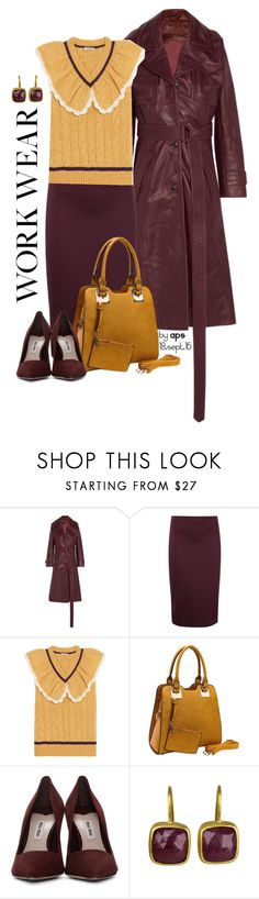 """""""SET #2191. Workwear:  Mustard+Burgundy"""" by annasousa-1 ❤ liked on Polyvore featuring Vetements, T By Alexander Wang, Miu Miu and Fabulous Age"""