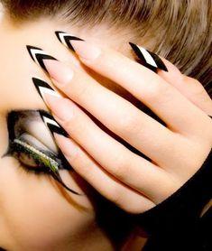 uñas esculpidas blanco y negro #unasesculpidas
