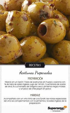 #TapasyVinos Aceitunas preparadas + Vino tinto (uva Syrah). #Andalucía: Gourmet Appetizers, Appetizer Recipes, Good Food, Yummy Food, Sauces, Tapas, Lunch Snacks, Recipes From Heaven, Food Hacks