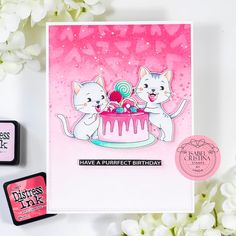 Stampin with Liz Design: Stampin with Liz Design: Isabel Cristina Stamps Birthday Cats Card! Heart Stencil, Pink Cards, Mama Elephant, Mft Stamps, Cat Birthday, Cat Cards, Distress Ink, Digital Stamps, I Card