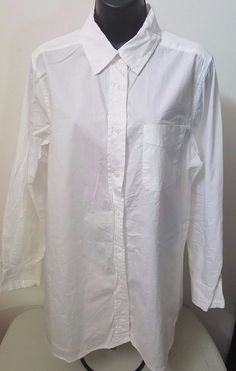 Roaman's Woman's Plus White Button Down Shirt Size 14W #Roamans #ButtonDownShirt #Casual