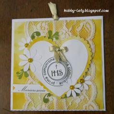 Gli Hobby di Lety: invito  comunione in giallo: un tripudio di marghe...
