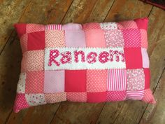 Handsewn personalised patchwork cushion
