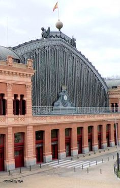 Exterior facade of the old train station of Atocha, Madrid, Spain