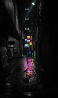 This is how I want this world to be introduced. You're walking down an alleyway black and white but for the slip of neon at the end which blooms into the vice city Urban Photography, Night Photography, Street Photography, Photography Lighting, Minimalist Photography, Creative Photography, Photography Ideas, Neon Noir, Nocturne