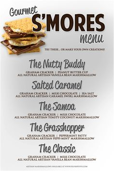 Menu for a Wedding Reception S'mores Bar or s'mores table