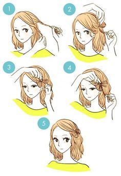 DIY tutorials on how to style your hair in 3 minutes. Quick and easy hairstyles. Techniques to style your hair and look elegant in no time. Everyday Hairstyles, Pretty Hairstyles, Hairstyle Short, Wedding Hairstyles, Quick Hairstyles For School, Kawaii Hairstyles, Blonde Hairstyles, Layered Hairstyles, School Hairstyles